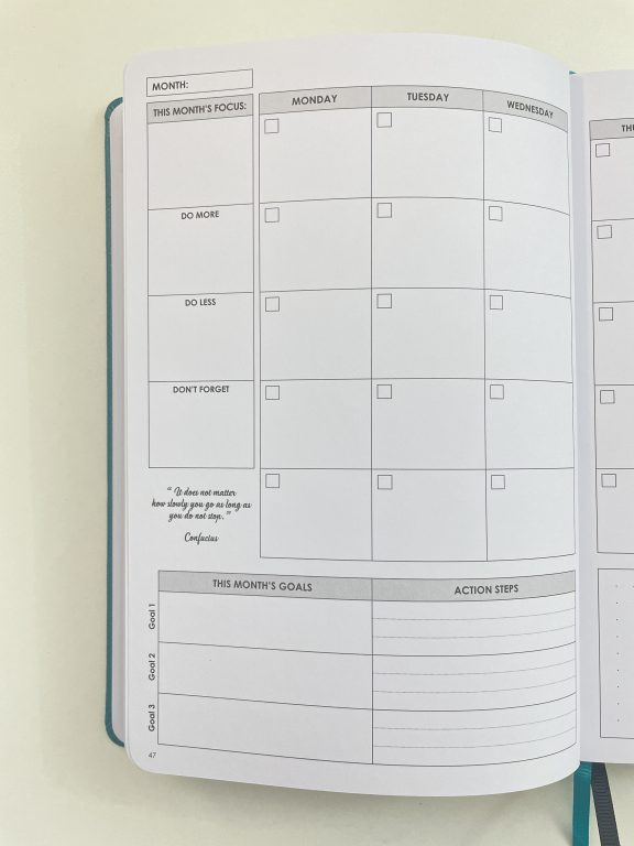 wordsworth monthly calendar monday week start minimalist bright white paper pros and cons video review top 3 goals inspirational quotes