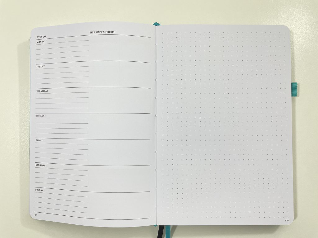 wordsworth planner review dashboard weekly layout lined unlined dot grid goals minimalist functional top 3 lined undated horizontal