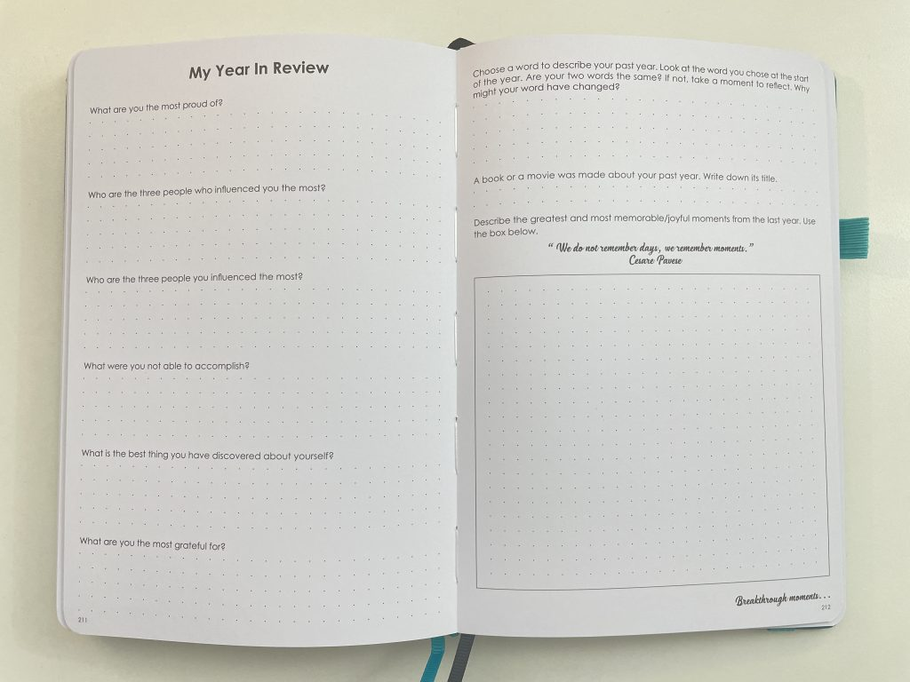 yearly review wordsworth planner questionaire dot grid bright white pages numbered 2 page dashboard weekly spread monday start monthly calendar