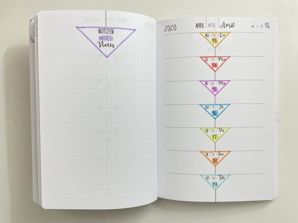 creative diary weekly spread rainbow zebra mildliner bullet journal 2 page layout