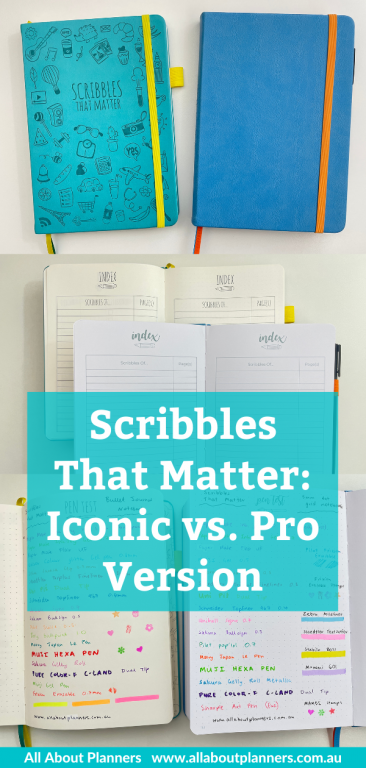 scribbles that matter iconic versus pro versions bullet journal dot grid notebook review video detailed comparison features pen testing
