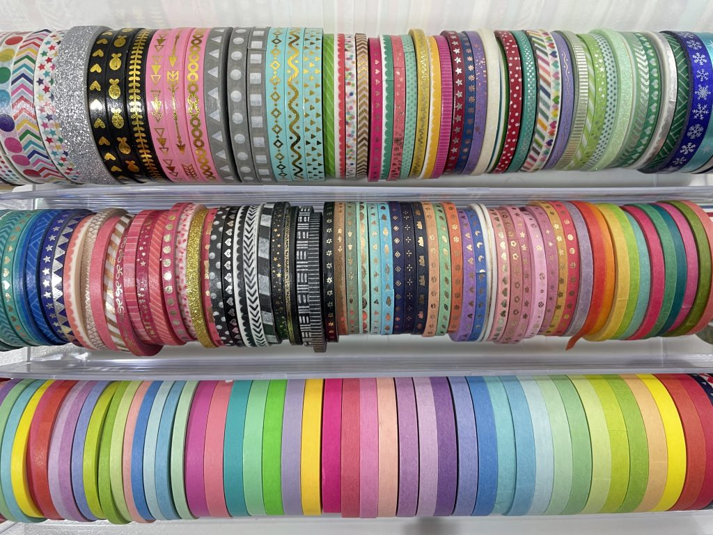 washi tape collection skinny rainbow 3mm 5mm happy planner recollections washi tape drawers acrylic