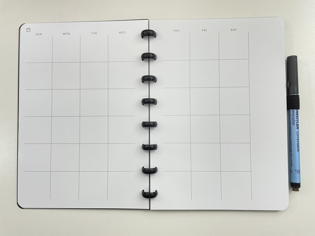 SORA reusable notebook review monthly calendar undated whiteboard paper eco friendly planner bullet journal dot grid lined pages habit tracker