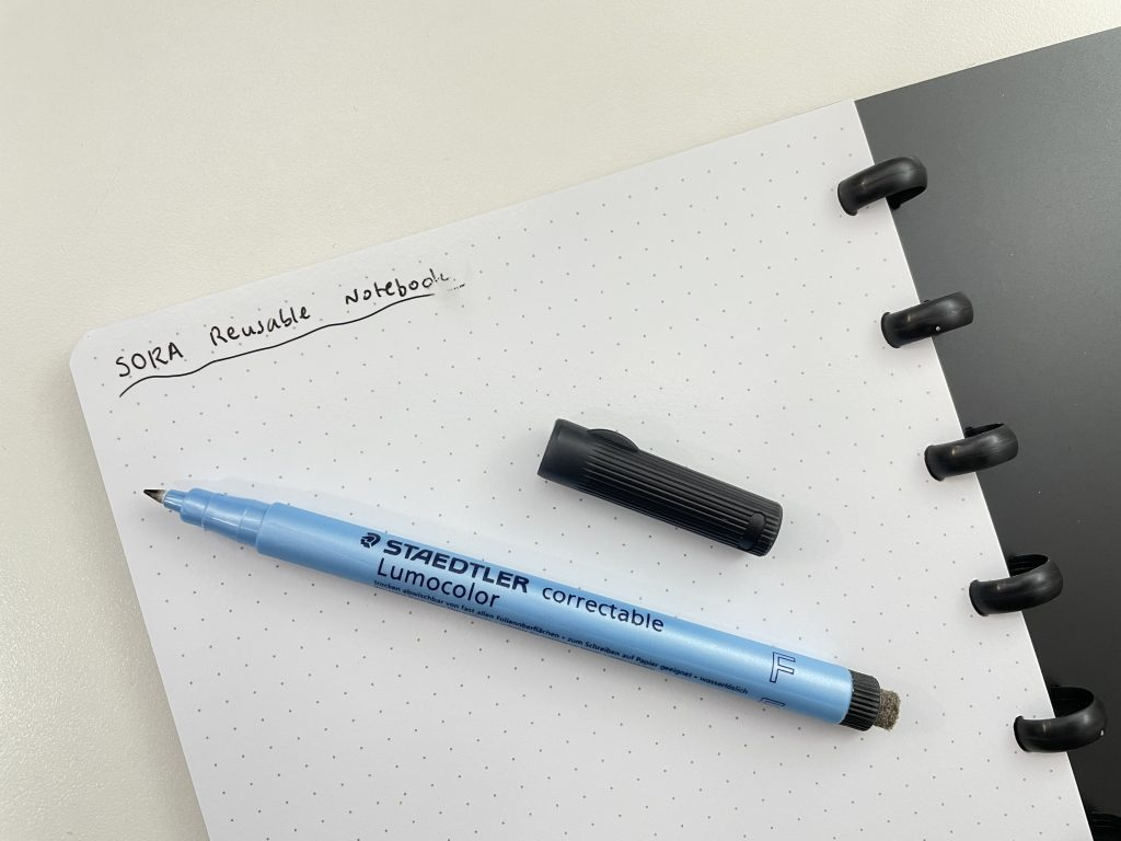 SORA reusable notebook review whiteboard paper video flipthrough weekly monthly habit tracker disc binding plan 2 months in advance dot grid bujo