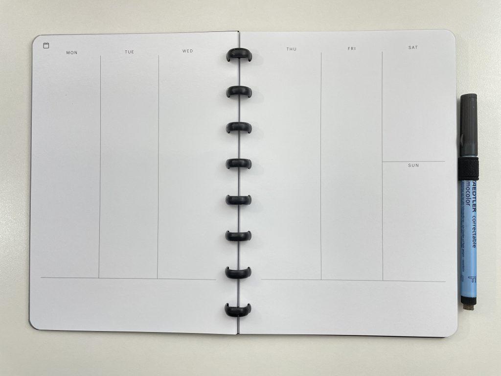 SORA reusable planner whiteboard paper vertical horizontal health tracker habits dot grid lined disc binding