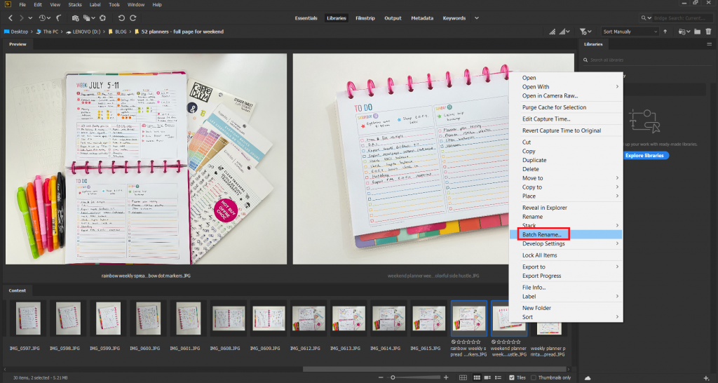 adobe bridge how to quickly rename batch files photos graphic design assets jpeg files using free software