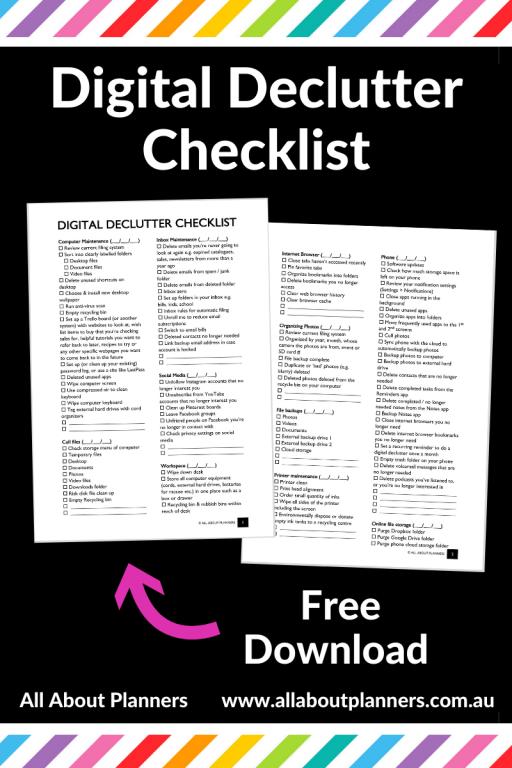 digital declutter checklist printable tips how to organize computer files storage backups photos digital organization folder structure batch rename files