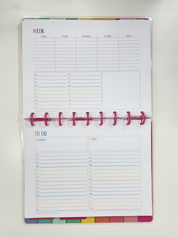 how to resize printables for your classic happy planner rainbow larger weekend horizontal 5 days per week layout checklist tutorial all about planners