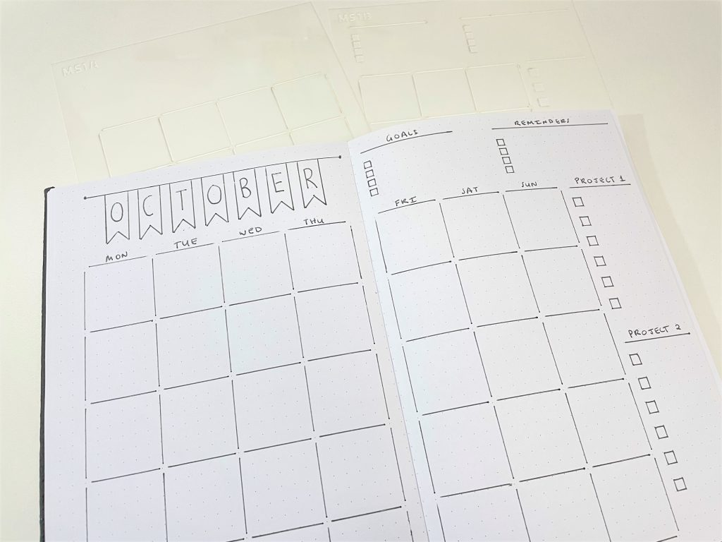 monthly calendar spread 2 pages minamalist quick simple monday week start projects checklist best bullet journal tools