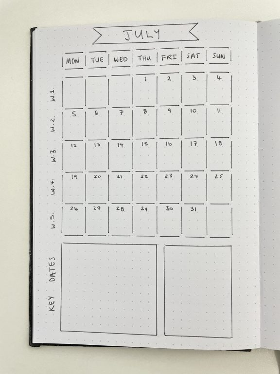 monthly calendar sunny streak stencils review 1 page spread dot markers quick simple bujo layouts minimalist favorite tools for bullet journaling