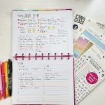 Weekly spread with small weekday section and a larger space for the weekend & projects