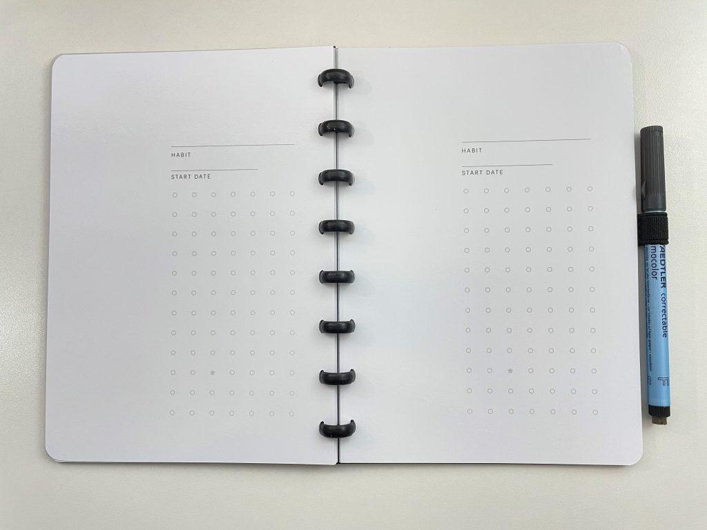 sora hybrid planner notebook whiteboard paper habit trackers monthly calendar vertical weekly horizontal lined dot grid discbinding