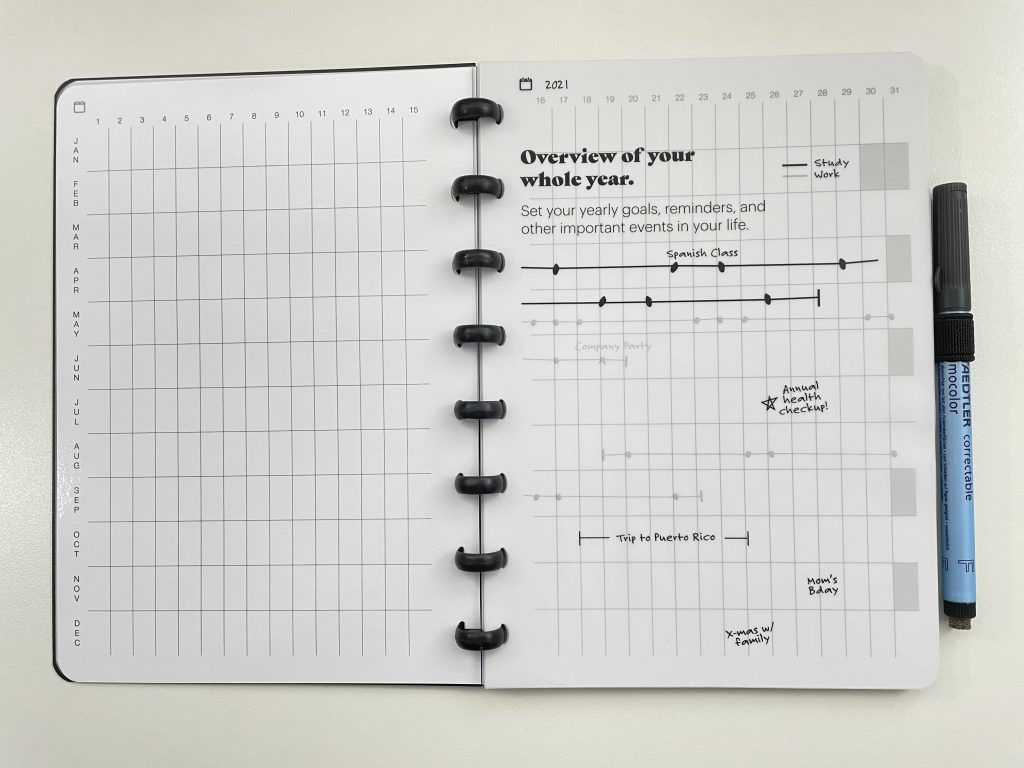 sora reusable notebook review whiteboard pages pros and cons video flipthrough disc binding annual overview monthly weekly habit tracker lined dot grid