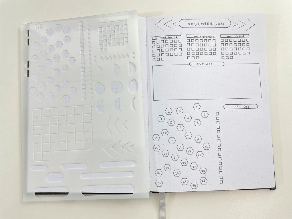 speedy stencils review monthly planning spread bullet journaling creative trackers habits mood routine recurring tasks