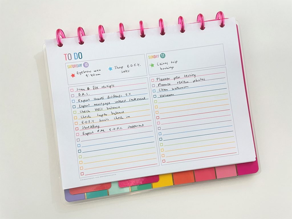 weekend planner weekly spread in the happy planner using resized printables rainbow simple colorful side hustle
