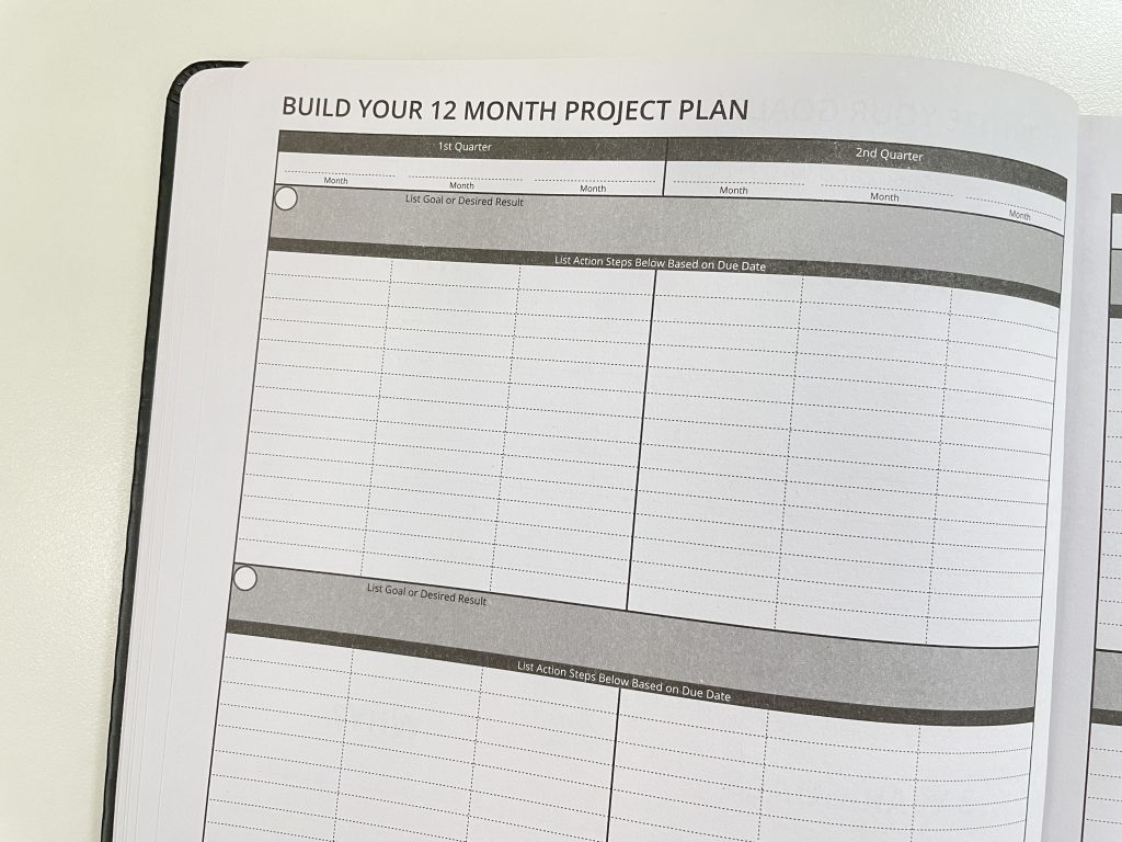 ignited life planner 12 month project planning action steps goal setting annual overview video flipthrough