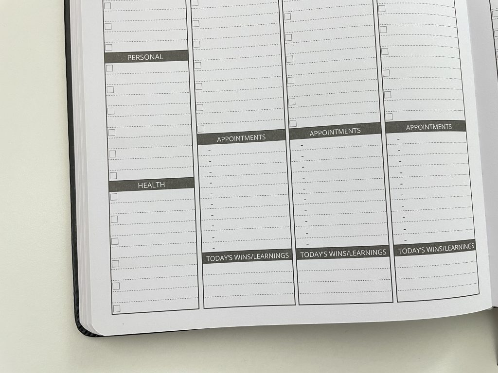 ignited life planner b5 page size larger weekly spread vertical lined columns schedule section you choose tasks health personal fitness work goals