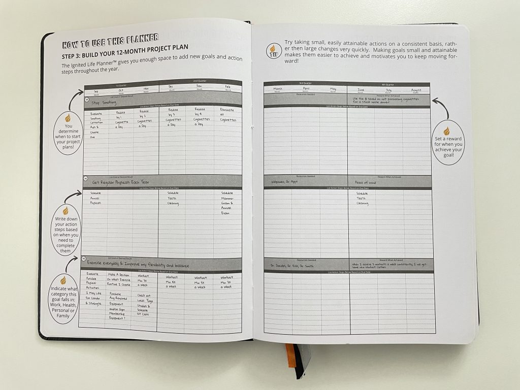 ignited life planner goal planning health fitness work life relationships balance monthly calendar weekly speads