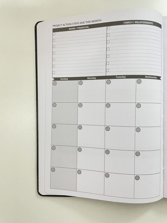 ignited life planner review 2 page monthly calendar lined undated weekly focus manage personal goals health work financial gender neutral