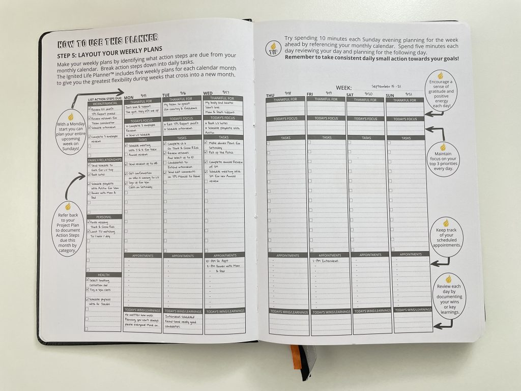 ignited life planner review how to use the weekly spread vertical lined appointments tasks goals b5 page size 7 x 10