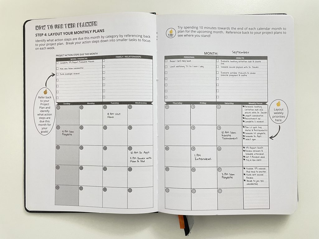 ignited life planner review monthly calendar spread goals health personal family relationships work