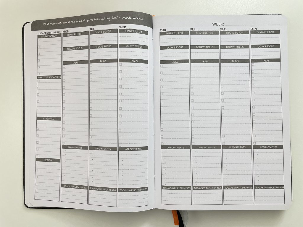 ignited life planner weekly spread monday start undated vertical appointment hourly or half hourly tasks focus health fitness finance budgeting