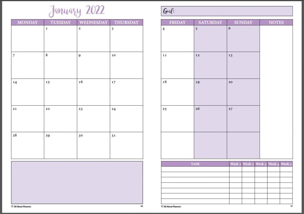 monthly calendar printable tutorial font pairing cursive sans serif font example quick simple easy