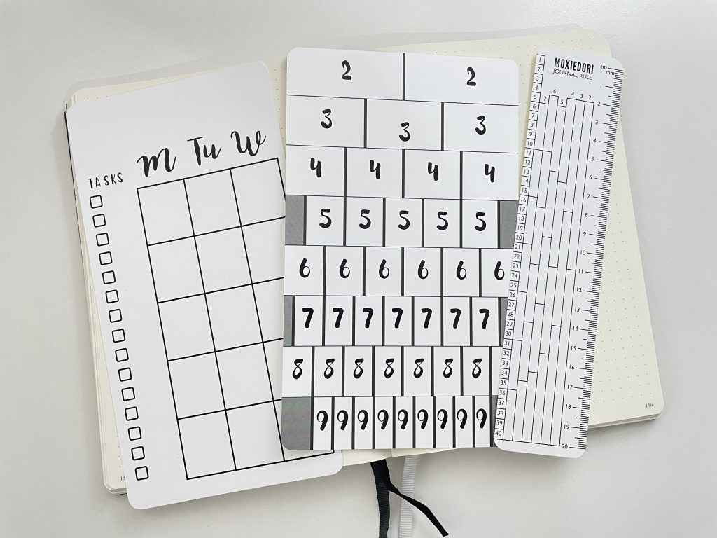 moxie dorie bullet journal stencils review row and column grid spacing monthly calendar weekly spread boxes ruler best bujo supplies nebwie