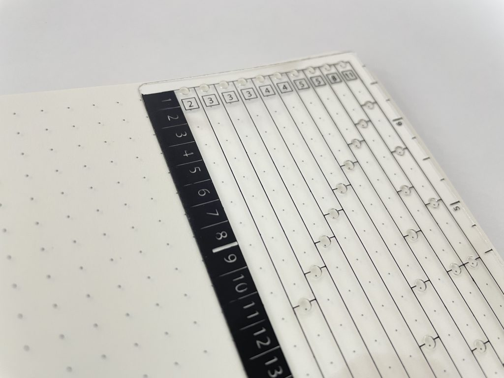 sunshine sticker co bullet journal row and column stencil counter weekly spread monthly calendar dot grid spacing counting tools simple easy to use