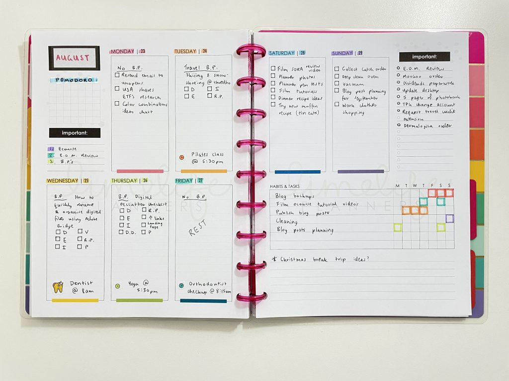 weekly spread limelife planners free printable layout habit tracker priorities notes rainbow undated happy notes discbound