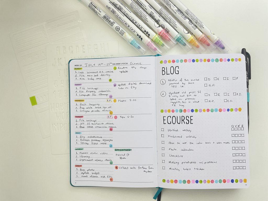 wordsworth weekly planner spread dot markers rainbow easy stencils zig dot marker
