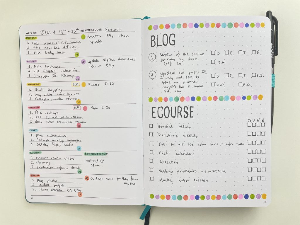 wordsworth weekly spread rainbow dot markers simple minimalist dashboard layout all about planners stencils