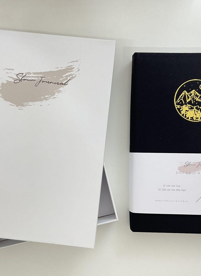 slow journal dot grid notebook review 160 gsm australia bright white paper video flipthrough pen test-min