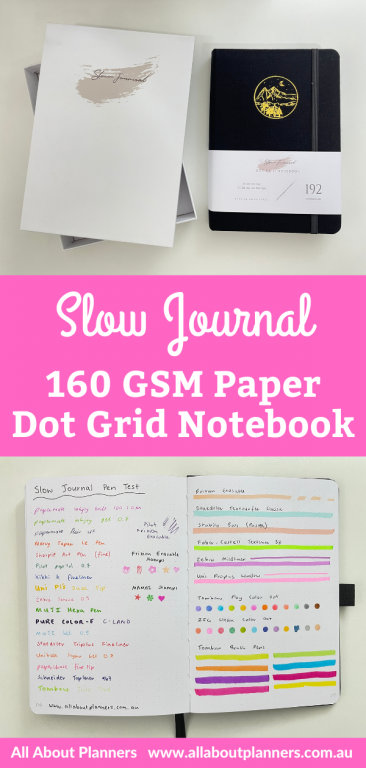 slow journal dotted notebook review australia 160 gsm thick bright white paper pen testing numbered pages pros and cons